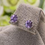 Mossovy Zircon Crown Silver Stud Earring for Female Purple Earings Fashion Jewelry Rhinestone Earrings for Women Pendientes