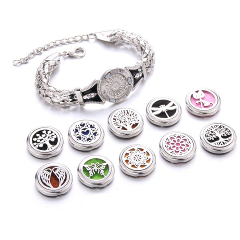 10 Styles Life Of Tree Aroma Bracelet Adjustable Bangle Essential Oil Diffuser Perfume Aromatherapy Chain Bracelet Locket
