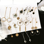 YOBEST new 23 pairs classic long drop earrings for women shell tassel round pearl party gift fashion jewelry