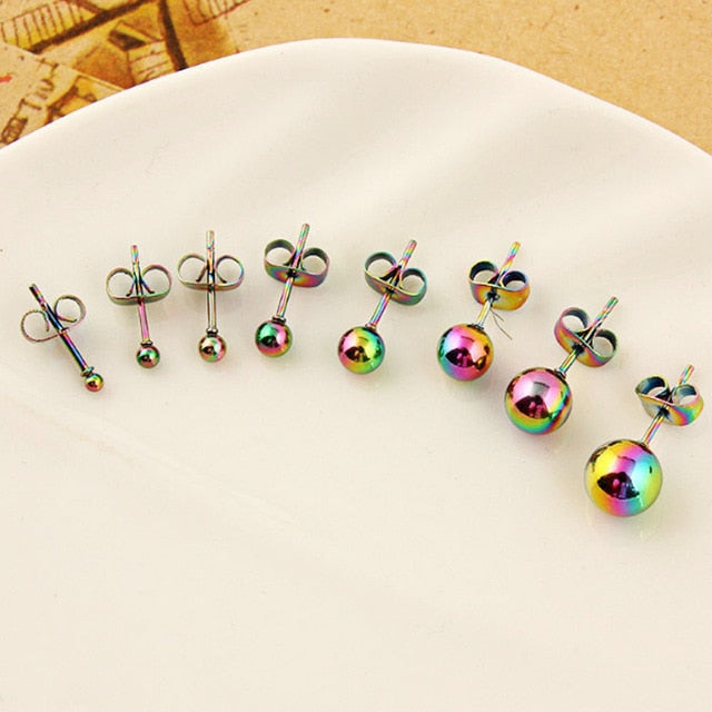 Black Stud Earring 1Pair Silver Round Unique Golden 2018 New Arrival Women Men Colours Bead Gifts Ball Blue Graceful