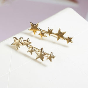 Star Beautiful Valentines Gift Party Simple Stud Earrings Teen Silver Fashion Jewelry 1Pair Wedding High Quality Women Golden