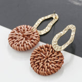 AENSOA Multiple 27 Style Korea Handmade Wooden Straw Weave Rattan Vine Braid Drop Earrings New Fashion Geometric Long Earrings