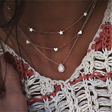 Bohemian Gold Color Multi layer Choker Necklace 2019 for Women Short Crystal Stars Necklaces & Pendant  Fashion Ocean Jewelry