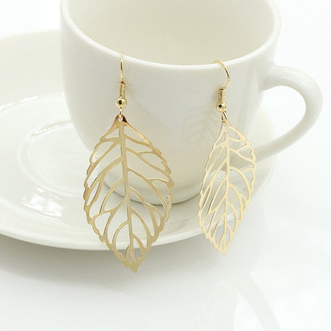 2019 Pendientes Mujer Hot Fashion Jewelry Light Metal Leaves Dangling Long Statement Drop Earrings