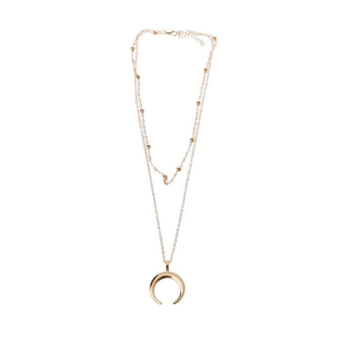 Fashion Trendy Boho Half Moon Crescent Alloy Necklace For Women