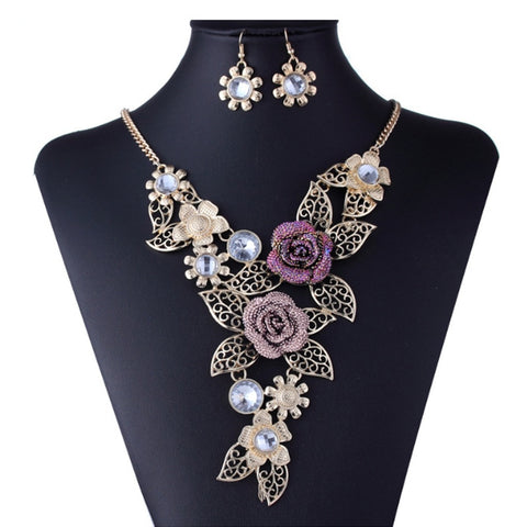 New Crystal Enamel Gold Color Rose Flower Jewelry Sets Women African Jewelry Maxi Necklace Earring Set VP697