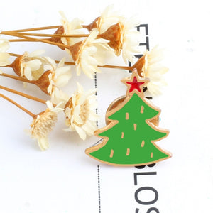 11 Style Enamel Pins Christmas Hats Brooches For Children Xmas Tree Socks Wreath Cane Santa Claus Pin Badge Accessories Jewelry