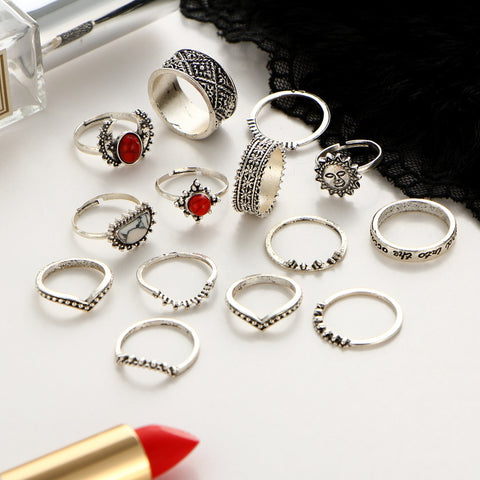 14 pcs/lot Antique Silver Color Moon Sun Ring Sets Women Carved Flower Red Stone White Beads Midi Finger Knuckle Rings Jewelry