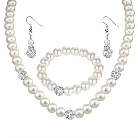 Crystal Silver Color Pearl Jewelry Sets Necklaces For Women Bracelets Dangle Earrings