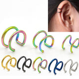 1 Pc New Punk Rock Ear Clip Cuff Wrap Earrings No piercing-Clip Hollow Out U Pattern Statement Jewelry Unisex 4 Colors