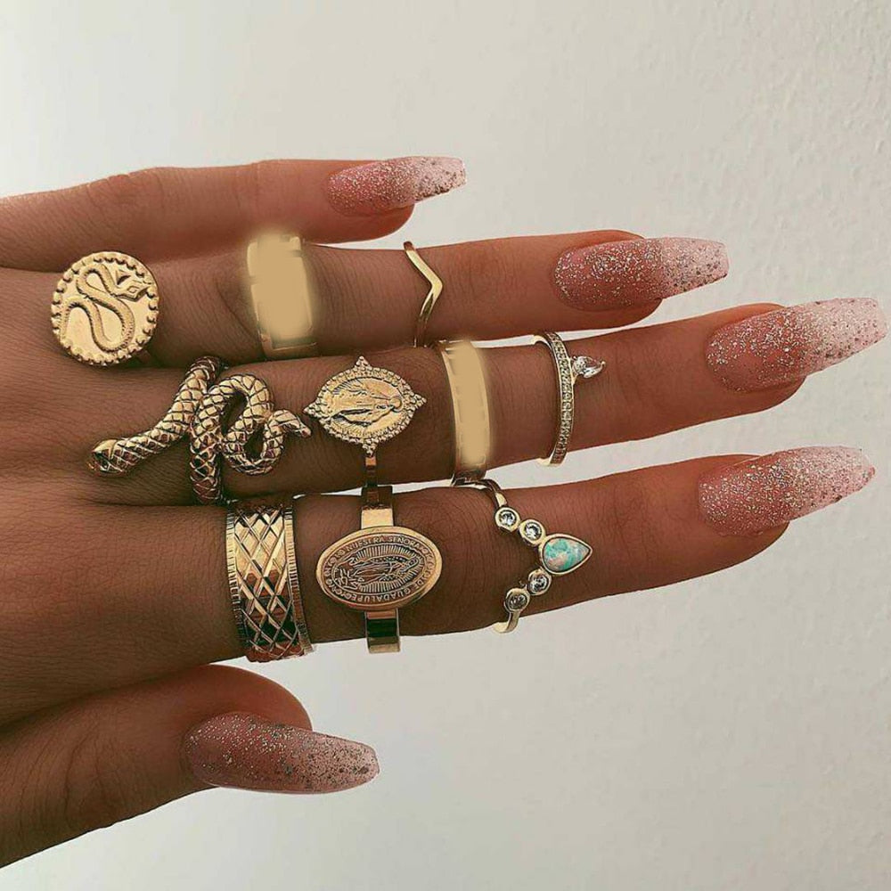 10 Pcs/set Vintage Jesus Snake Shape Animals Rings Set Gold Crystal Joint Midi Kunckle Ring Wedding Party Jewelry Accessories