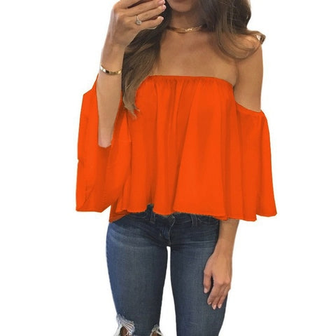 Sunkiss Orange Off Shoulder Women's Stefanie Blouse