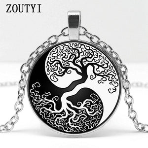 2018 / best-selling, new tree life art pattern pendant jewelry glass cabochon necklace jewelry.