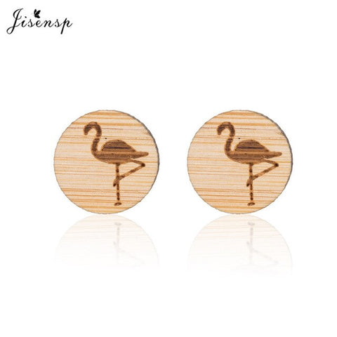 Jisensp Cute Desert Fox Women Earrings Tiny Lovely Animal Wooden Earrings Jewelry Studs for Women Girls Party Gifts 2019