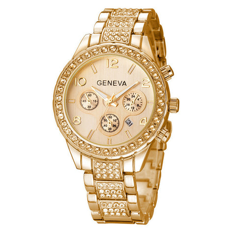 Gold Rhinestone Stainless Steel Luxury Watch