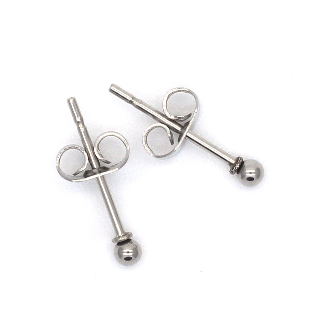 ag01 Titanium Brief Small Round Balls 2mm to 8mm Stud Earrings 316l Stainless Steel Earring IP Plating No Fade Allergy Free