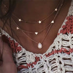 FAMSHIN Bohemian Multi layer Pendant Necklaces For Women