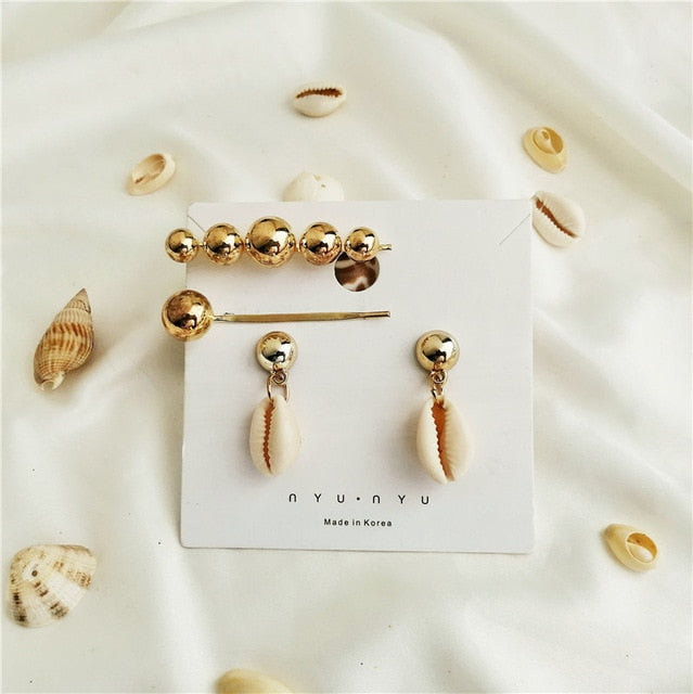 Sea Shell Earrings For Women Gold Color Trendy Metal Shell Cowrie Statement Dangle Earrings 2019 New Summer Beach Jewelry