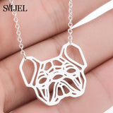 SMJEL Stainless Steel Animal Mickey Necklaces for Women Daily Jewelry Fashion World Map Wave Fox Necklace Gold Collier 2019