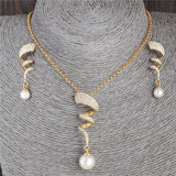 Fashion Costume Jewelry Sets Vintage Pearl necklace Gold jewelry set for women Clear Crystal Elegant Party Gift Bijoux