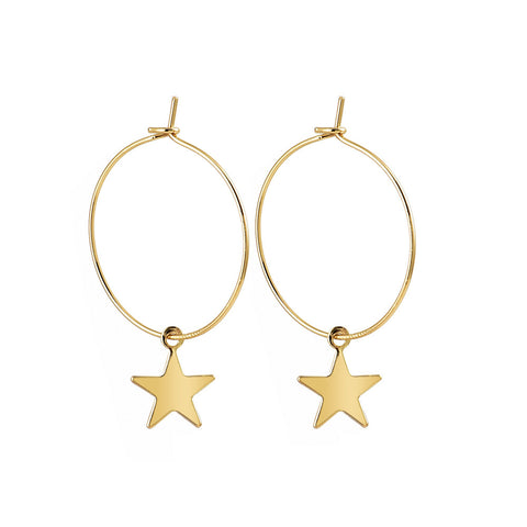 Hoop Earrings w/ dangling star Gold/Silver