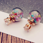 Cute Crystal Ball Small Doubled Side Earings Fashion Glass Pearl Stud Earrings For Women Jewelry Brinco Boucle D'Oreille C4S1216