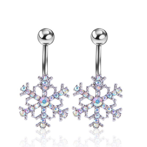 Summer Star Snow Belly Button Rings Trendy Navel Piercing Ombligo Women  Pircing White AAA Zircon Belly Piercing Nombril Gift