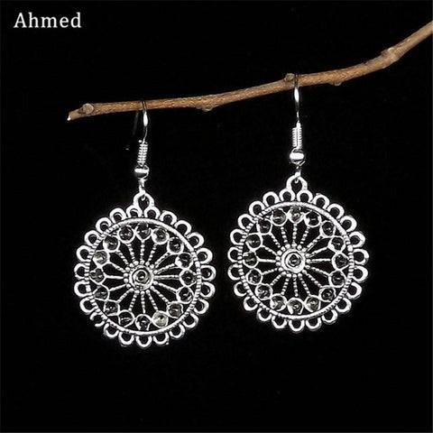 Ahmed Vintage Antique Hollow Flower Tibetan Silver Drop Earrings for Women New Ethnic Alloy Dangle Earring