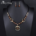 Crazy Feng Luxury Acrylic Beaded Round Pendant Necklaces Drop Earrings Jewelry Set For Women Vintage Dubai Costume Jewerly NE+EA