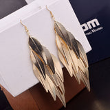 New India Baroque Vintage Multi layer Leaf Drop Long Earrings Willow Fringed Fashion Jewelry Long Earrings for woman