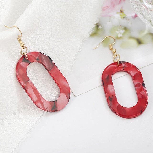 Round Resin Hot Sale 1Pair Unique Big Party Drop Earring Graceful Geometry 2019 Korean Seaside Vintage Acrylic Oval Circle