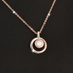SINLEERY Classic Circle Round Pendant Necklace With Cubic Zirconia Rose Gold Color Short Chain For Women Jewelry Xl689 SSD