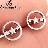Shuangshuo Small Star Earings Silver Stud Earrings For Women Earing oorbellen Stainless Steel Jewelry Korean Earrings pendientes