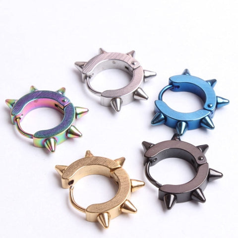 1 PC Unisex Titanium hexagonal Steel Hoop Gothic Hip Hop Thorn Punk Rivet Ear Stud Spike Earrings New