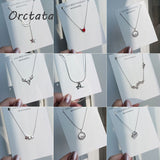 Heart Silver Chain Pendants Necklace for Women Vintage Star Moon Crystal Zircon Chain Necklaces Female Korea Fashion Jewelry