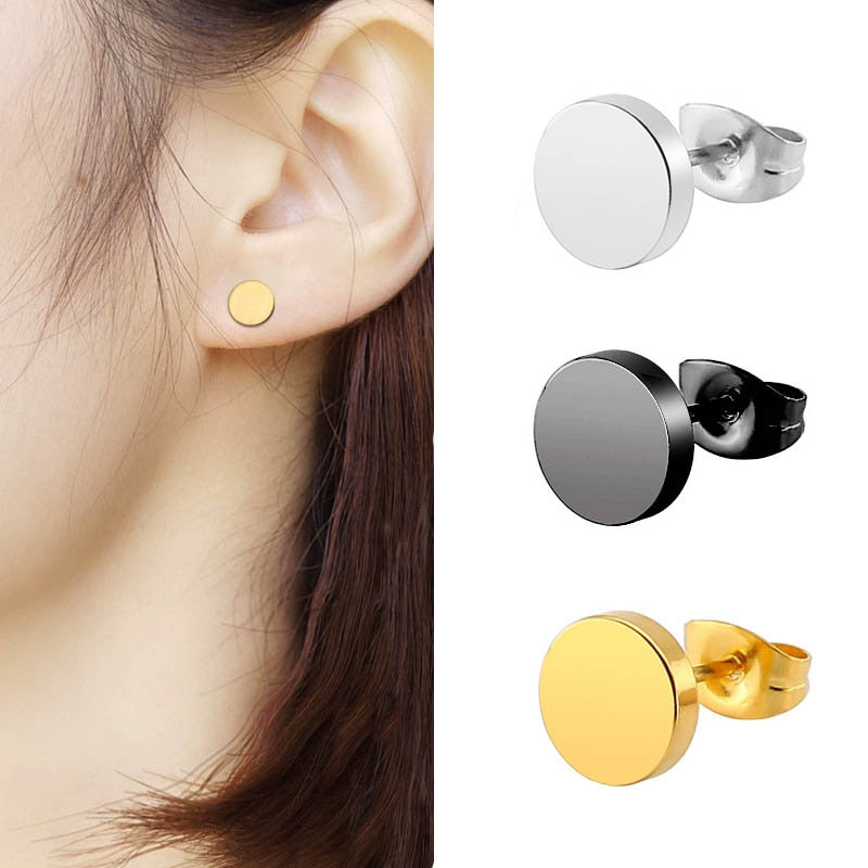 2pcs Fashion Stainless Steel Round Stud Earrings for Women Geometric Circle Black Simple Titanium Earrings Men Ear Jewelry Gift