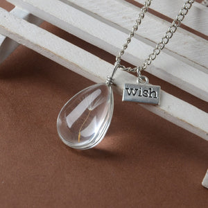 Make A Wish Natural Dandelion Seed in Glass Long Chain Bead Orb Silver Plated Necklace Glass Wishing Bottle Pendant Jewelry