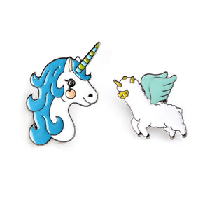 Blue Unicorn Enamel Metal Brooch Cute Flying Sheep Badge Pin Trendy Glamour Costume Hat Jewelry Accessories