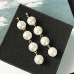 Gold/Silver Pearl Drop Earrings Wedding Jewelry Tassel Statement Earrings