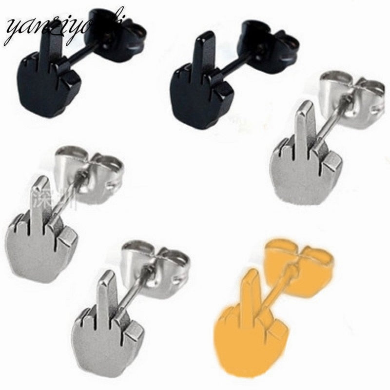 1 Pair Fashion Rock Gothic Middle Finger Shape for Men And Female Personalized Earrings Stainless Steel Jewelry Stud Earring