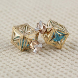 Hot Sale Hollow Ball Double Face Stud Earrings For Women 7mm Square Cut Cz Crystal Earrings Gold Color Jewelry C4S1207