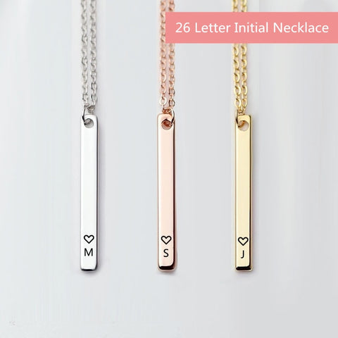 Minimalist Initial 26 Letter Necklace Silver Heart Choker Rose Gold Chain Bar Necklace Women Name Necklace Personalized Jewelry