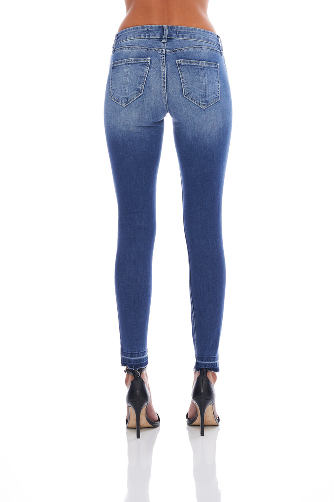 Ashley Light Wash Mid Rise Release Hem Skinny