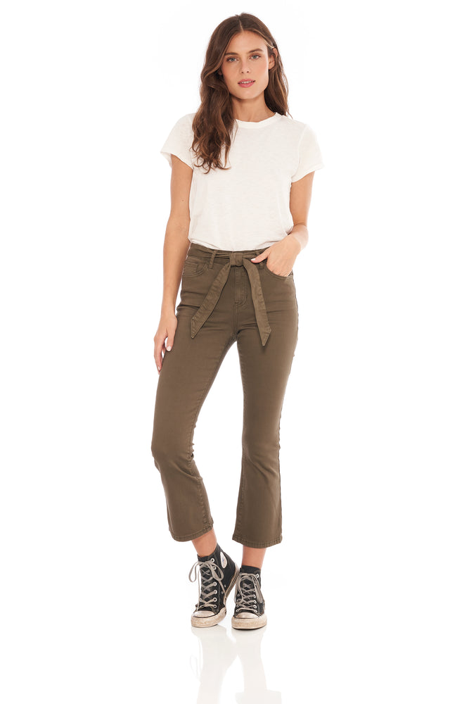 Gigi Burnt Olive Crop Flare