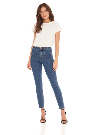 Keira High Rise Front Pocket Straight Medium Wash