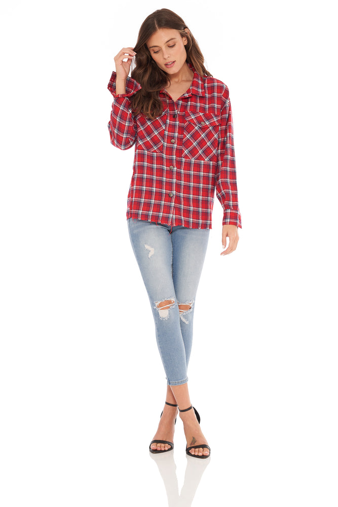 NEW! Evelyn LS Flannel Red