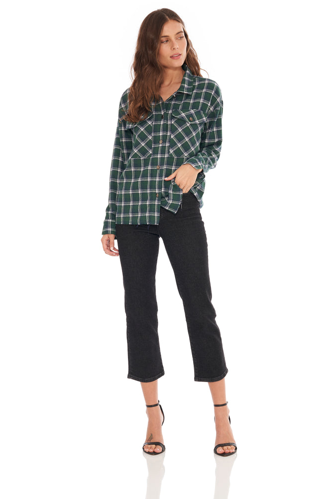 NEW! Evelyn LS Flannel Olive