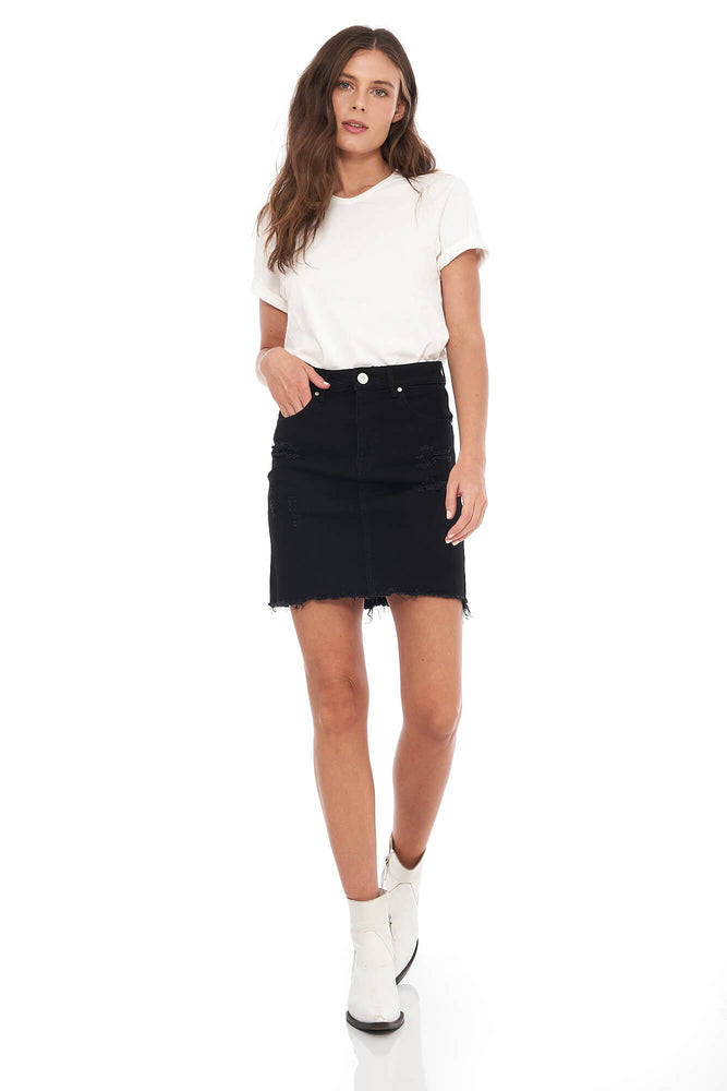 Kendall Raw Edge Black Skirt