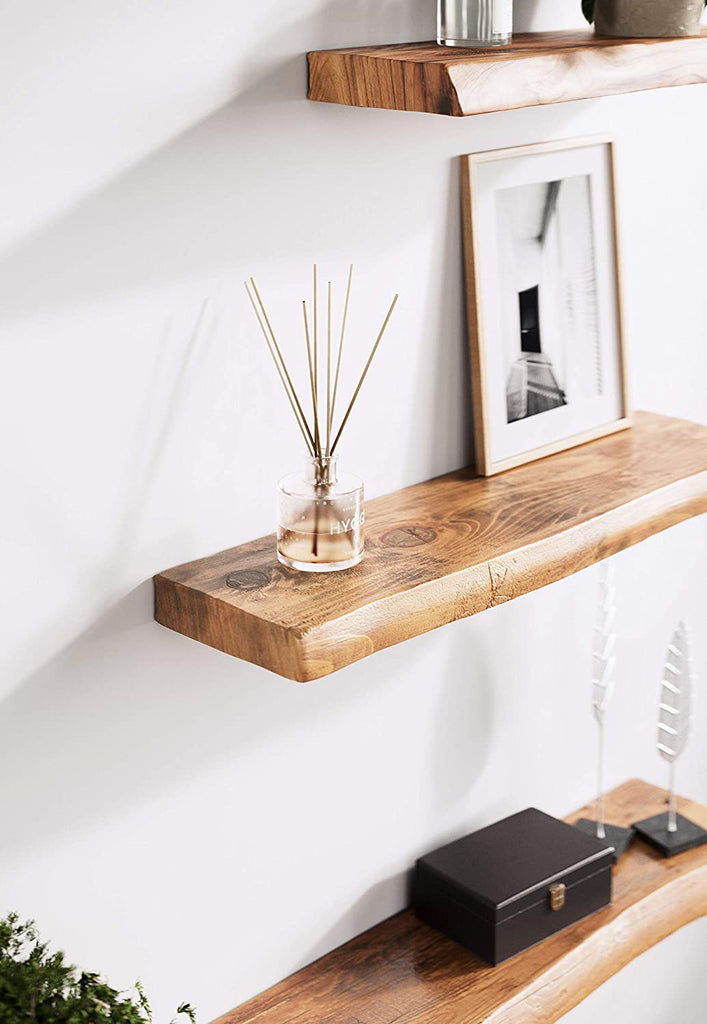 "Mindful Living | Live Edge Floating Wall Shelf (24"" Shelf)"