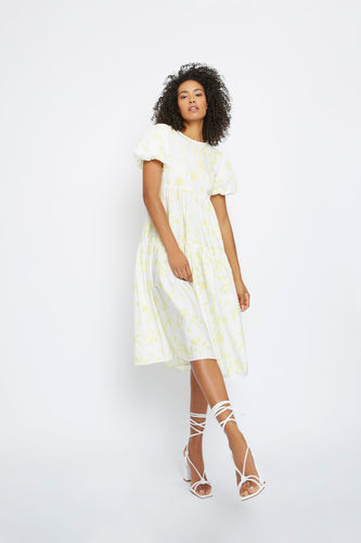 Yellow brush stroke flower buffet dress